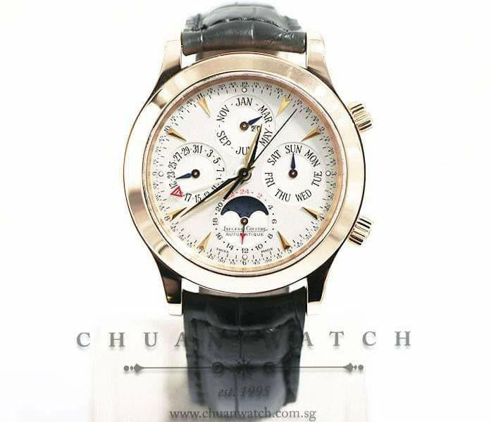 Pre-Owned Jaeger-LeCoultre Master Grande Memovox Perpetual Calendar MoonPhase Alarm Rose Gold 41.5mm 146.2.95 - Discontinued