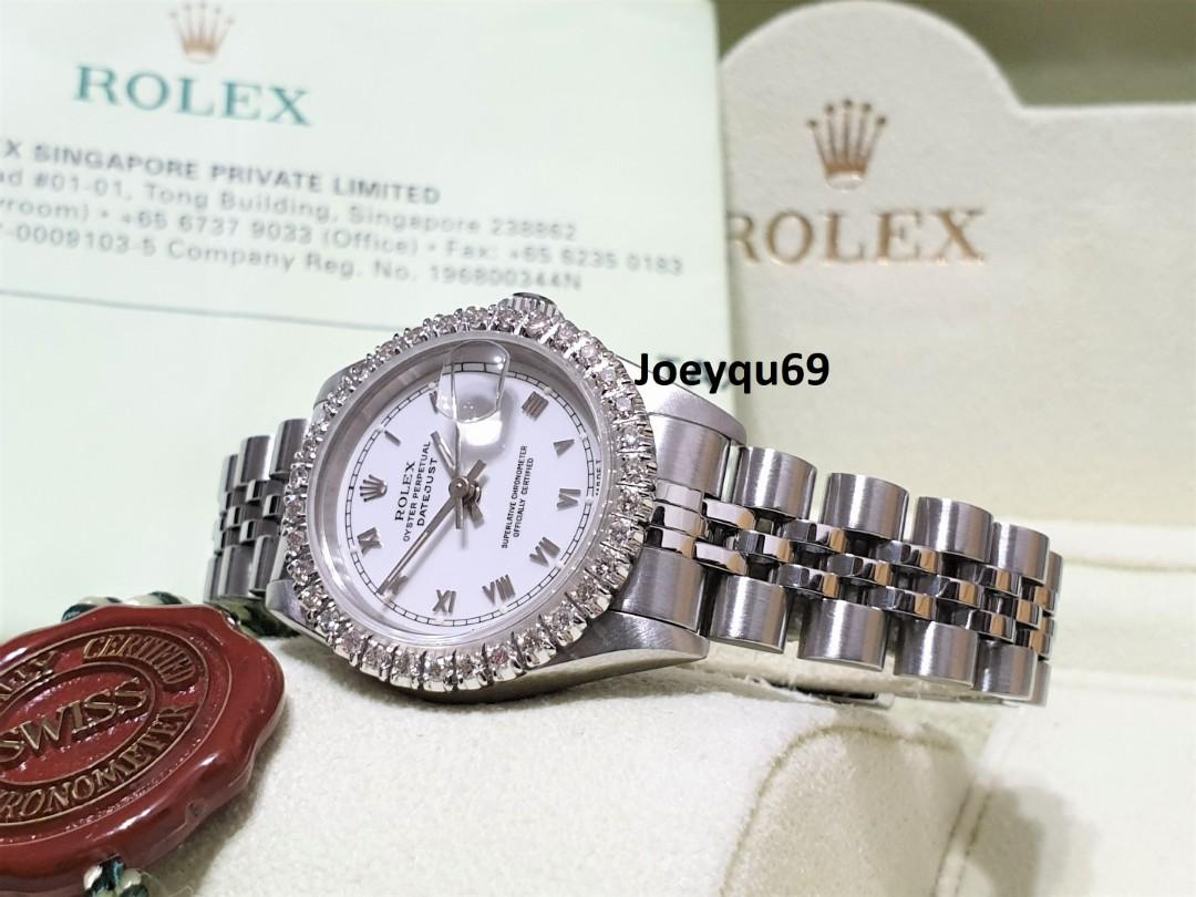 (SG Rolex Center Paper) ROLEX DATEJUST White Roman 69174 Auto Sapphire Full Big Diamonds bezel!