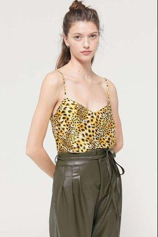 Urban Outfitters leopard print satin cowl neck tank top