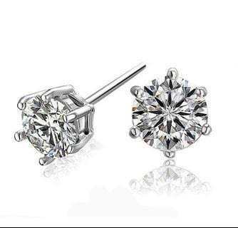 莫桑石(美國GIA鑑定)6爪耳環 (0.5-1.5cts) 男女款 生日週年紀念女朋友老婆鑽石母親節禮物