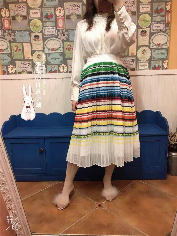 And couture Japan fashion brand elastic waist pleated skirt