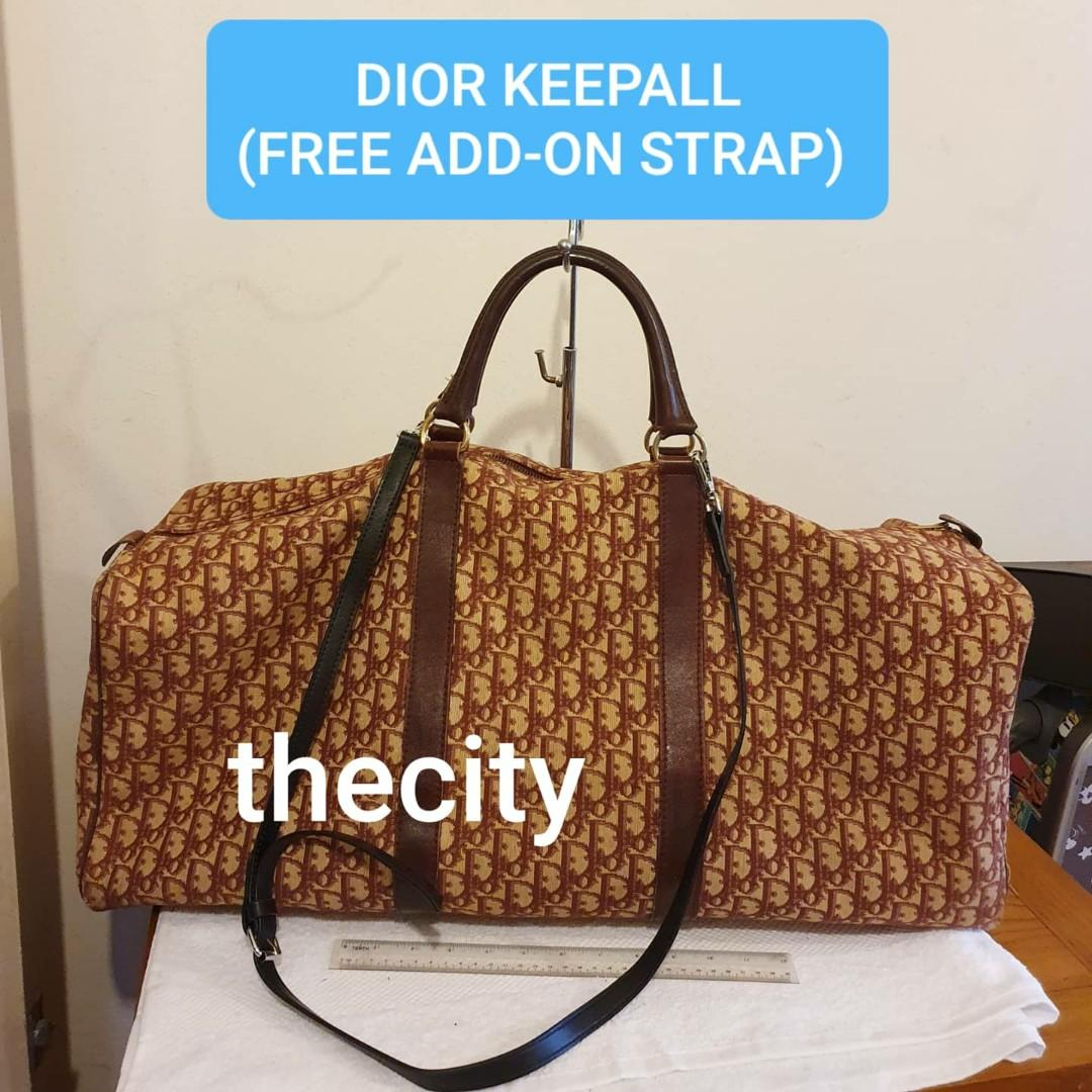 AUTHENTIC DIOR MONOGRAM LOGO BIG  XL KEEPALL LUGGAGE TOTE BAG, WITH FREE ADD ON STRAP FOR CROSSBODY SLING -  RED COLOR - RARE VINTAGE DIOR, SO NOT FOR FUSSY BUYERS - OVERALL OK ! -