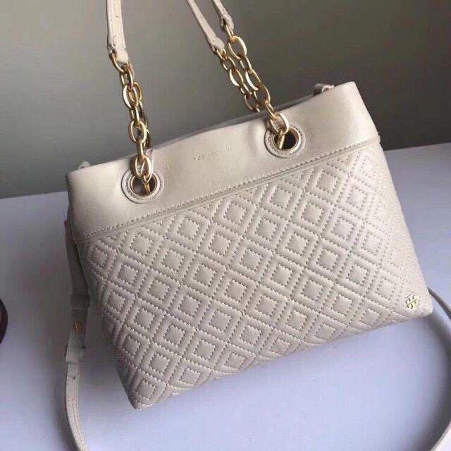 Authentic Tory Burch fleming small tote with chain in imperial garnet