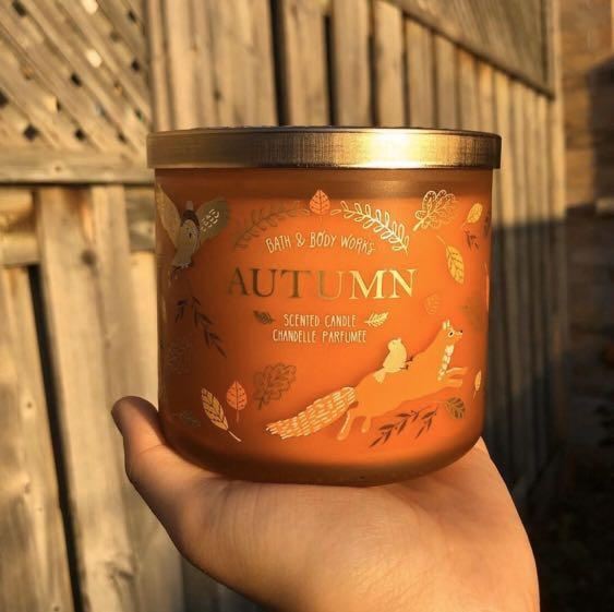 bath & bodyworks 3 wick candle in the scent autumn