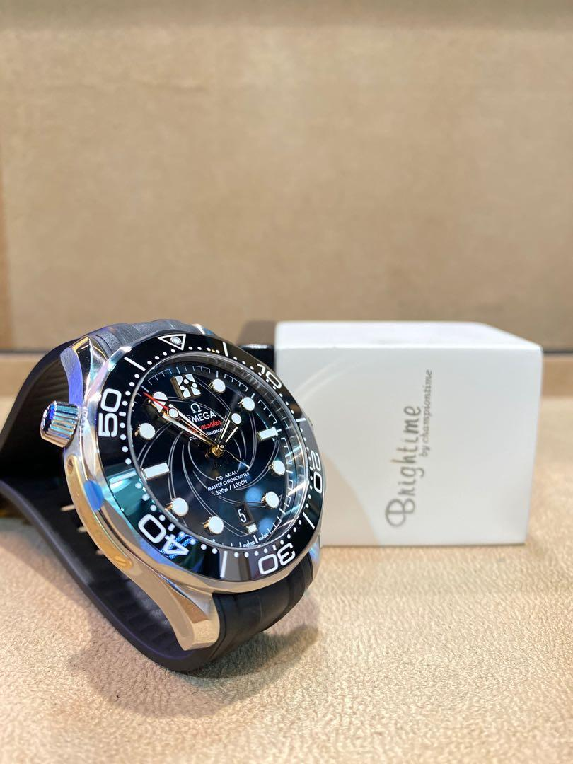 """Brand New Omega Seamaster Diver 300m """"James Bond"""" 210.22.42.20.01.004 Black Dial Automatic Steel Casing Rubber"""
