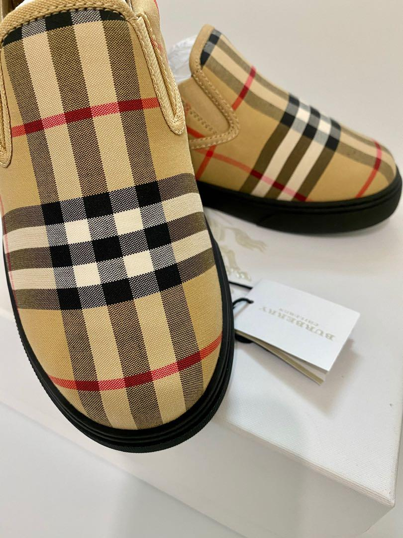 Burberry Kids - Burberry's Antique Yellow Black Stripes Loafers / Shoes / Slip-On's -Size 34