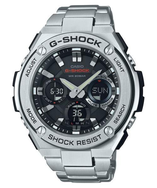 Casio G-STEEL GST-S110D-1A G-Shock Analog Digital Sporty Design TOUGH SOLAR Stainless Steel Strap Original Watch GST-S110D