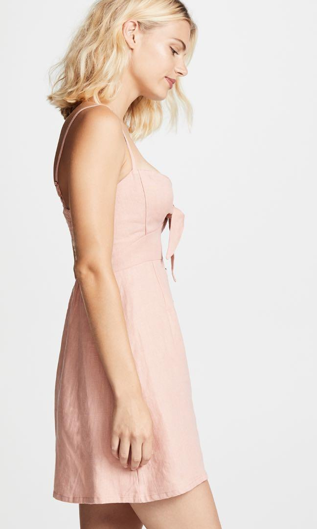 Faithful the brand vintage pink linen tie at front mini dress