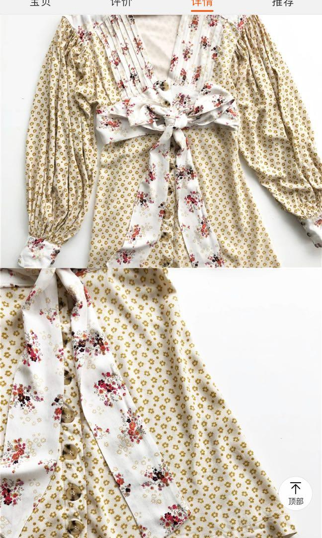 Free people v neck tea dress in floral retro pattern