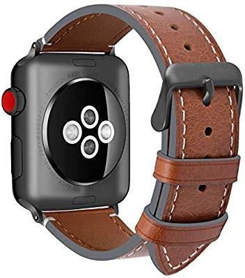 Fullmosa Compatible Apple Watch Band 44mm 42mm 40mm 38mm Genuine Leather iWatch Bands, 42mm 44mm Dark Brown + Smoky Grey Buckle