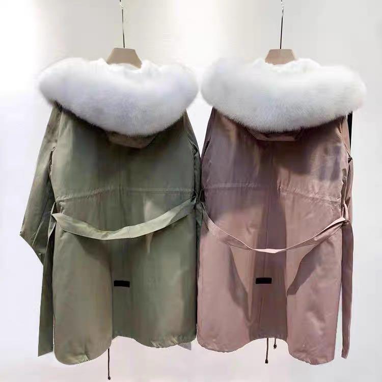Korea designer genuine natural fur oversized parka jacket coat