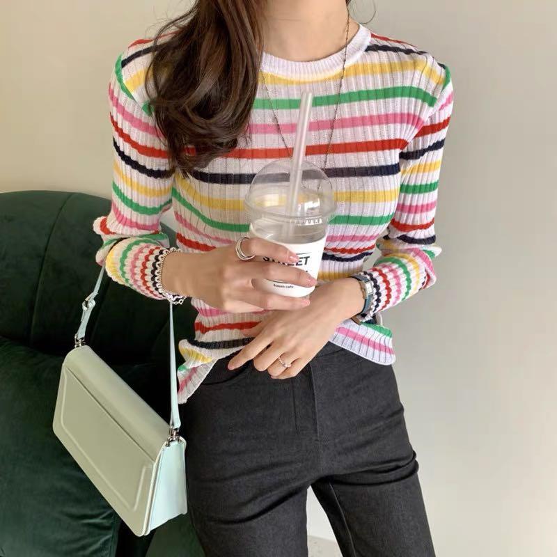 Korea  Designer multi-coloured stripe crew neck jumper in skinny rib