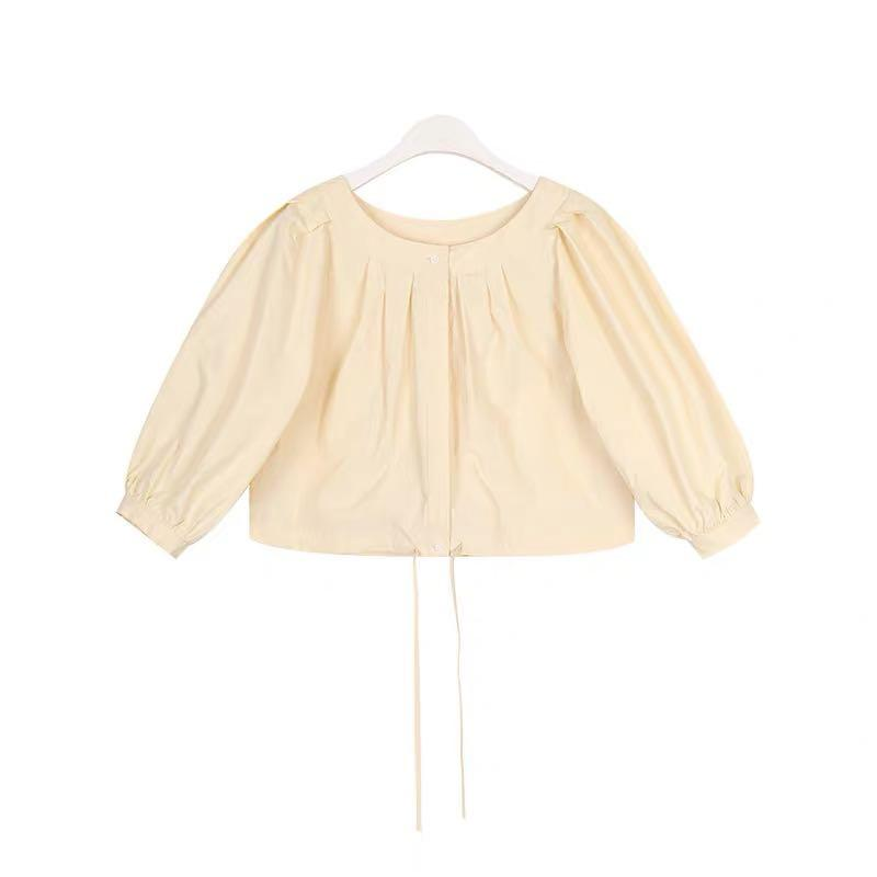 Korea fashion brand cotton pleated two-way wearing ballon sleeve buttoned top