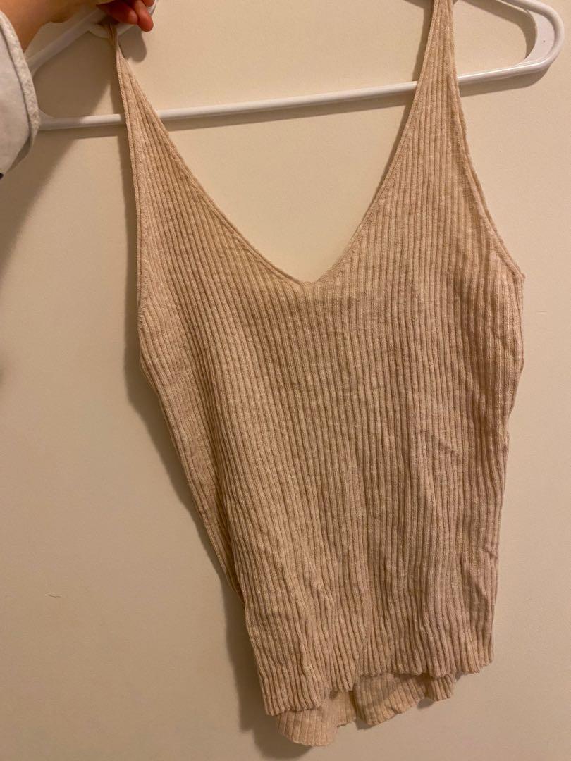 Korea fashion knit v neck tank tank top in skinny rib