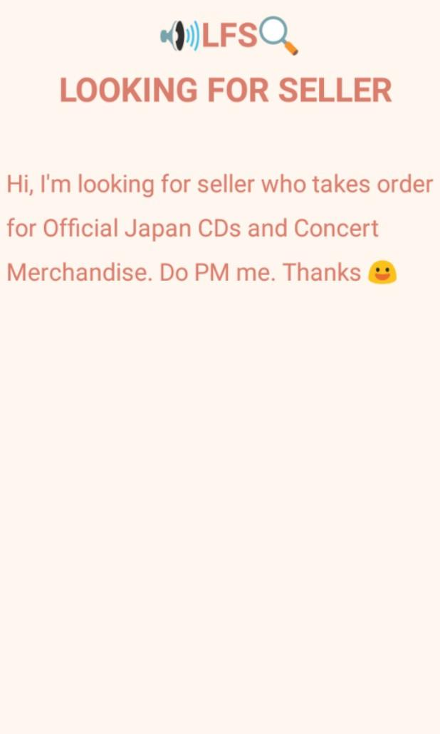 [LFS] Looking For Seller Japan CDs and Concert Merchandises