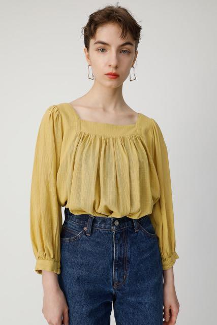 Moussy Japanese fashion brand cotton square neck top shirt