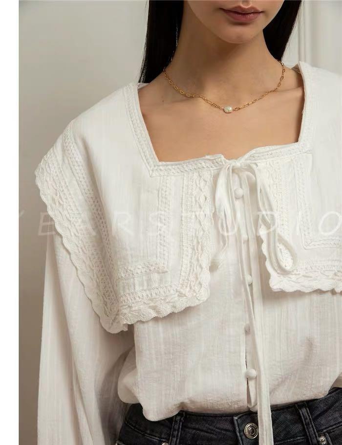 Pixie market square neck sailor style lace inserted cotton blouse shirt