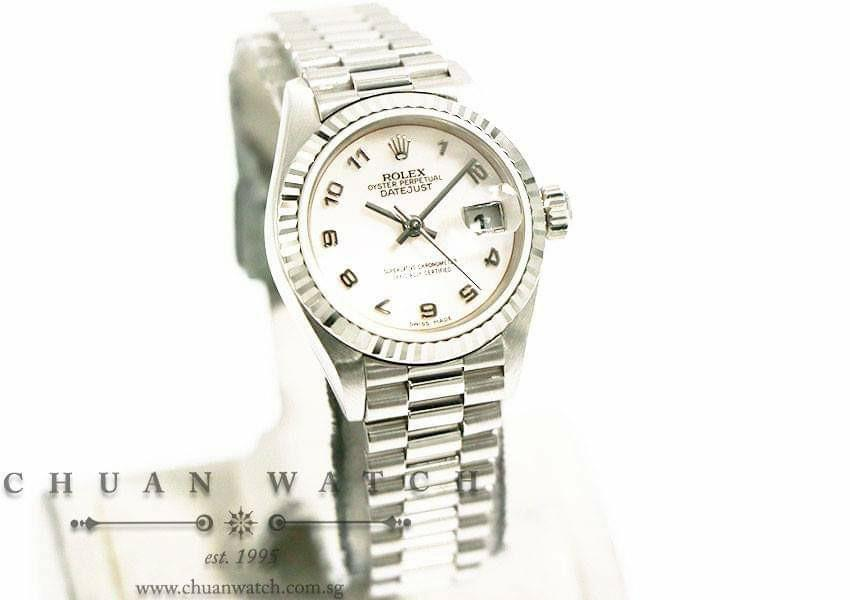 Pre-Owned Rolex Ladies' DateJust President White Gold 26mm 79179 Pink MOP Arabic - Discontinued