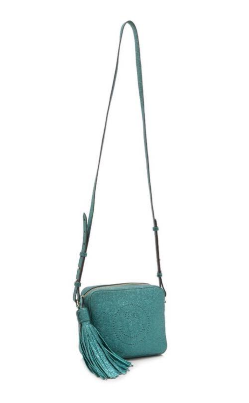 Rare limited edition! Pretty Sparkly in Metallic Teal! 🤩🌠 Like New Authentic Anya Hindmarch Smiley Crossbody Bag in Crinkled Metallic Dark Teal Leather (U.P. $1,700)