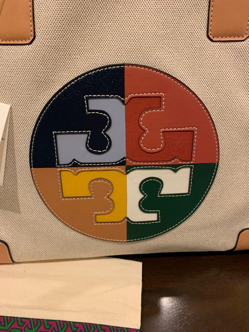 Ready Stock authentic Tory Burch Ella colour block logo totes large size