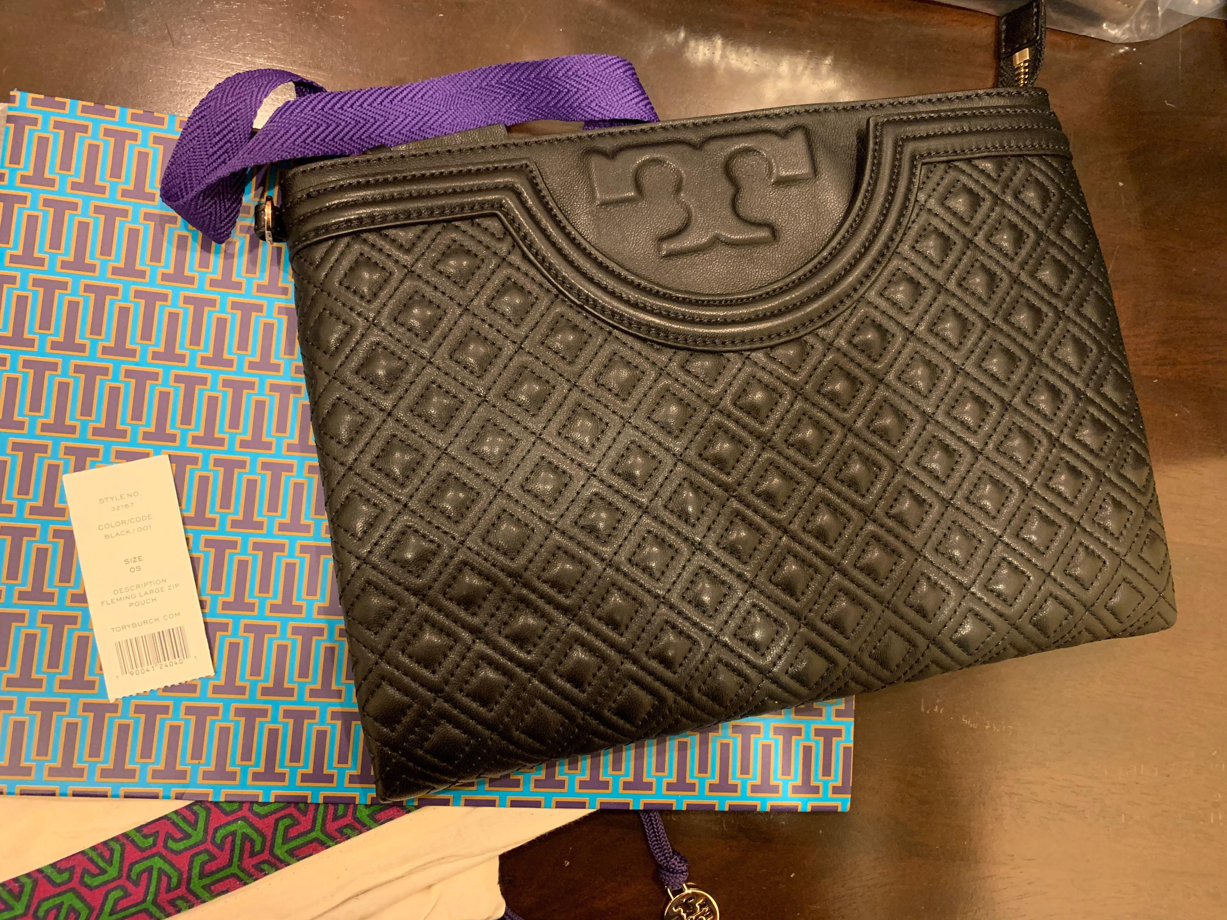 Ready Stock authentic Tory Burch McGraw wristlet clutch big wallet Fleming in black iPad size