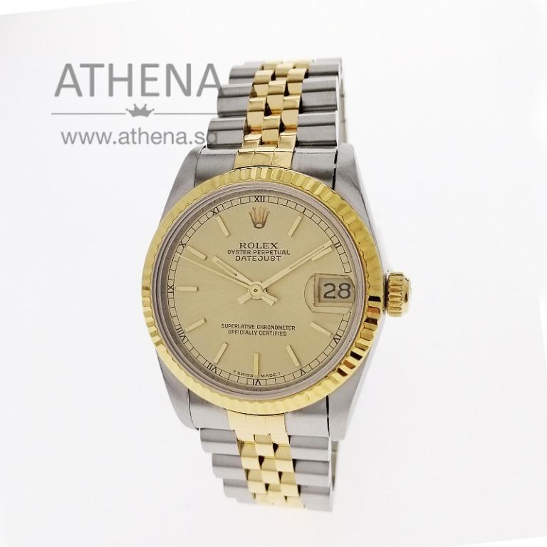 """ROLEX """"HALF GOLD-"""" MID-SIZE OYSTER PERPETUAL DATEJUST """"R"""" SERIES """"CHAMPAGNE INDEX DIAL"""" 68273 WLWRL_1190"""