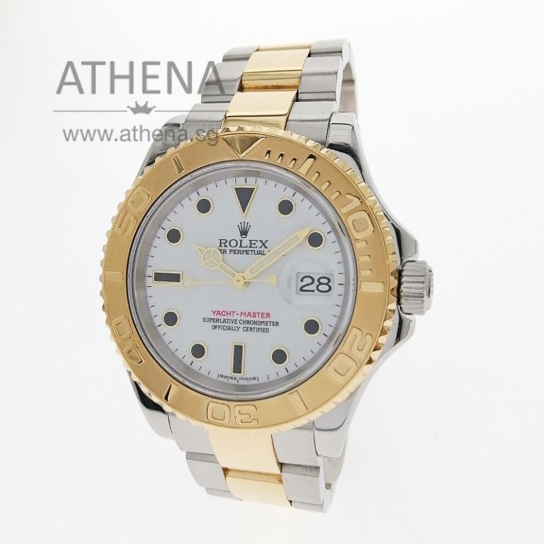 "ROLEX ""HALF-GOLD"" MEN YACHT-MASTER ""Z"" SERIES ""WHITE ONYX DIAL"" WITH CERT 16623 (LOCAL AD) JGWRL_1067"