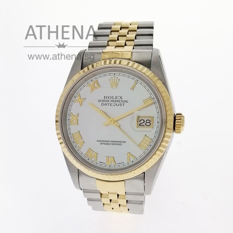 """ROLEX """"HALF-GOLD"""" MENS OYSTER PERPETUAL DATEJUST """"U"""" SERIES """"WHITE MOTHER-OF-PEARL ROMAN DIAL"""" 16233 JGWRL_1078"""