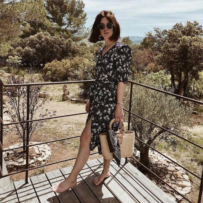 Rouje F Jeane Damas Fashion blogger floral print retro style tea dress