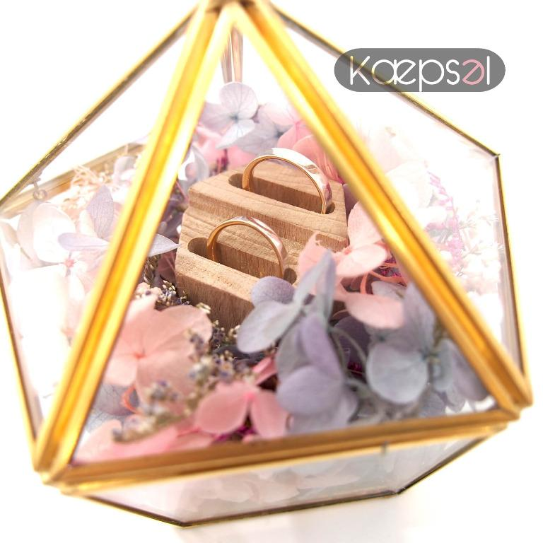 Unique Preserved Flowers in Glass Gold Wedding Engagement Ring Box Geometric Ring Bearer Box (Flynn Box)