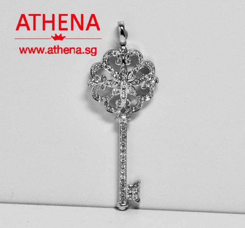 WL_DP_229 JEWELLERY 18K WG FLOWER KEY DESIGN DIAMOND PENDANT D92-1.10CTS 6.03G [PRICE EXCLUDE CHAIN]