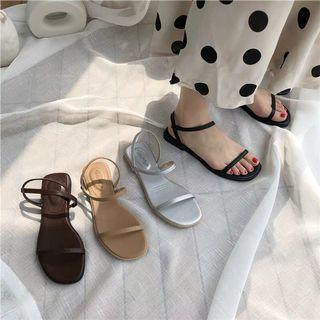 韓系簡約一字帶扣帶平跟涼鞋拖鞋