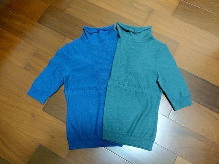 Bernis短袖針織上衣(藍/綠)#moon