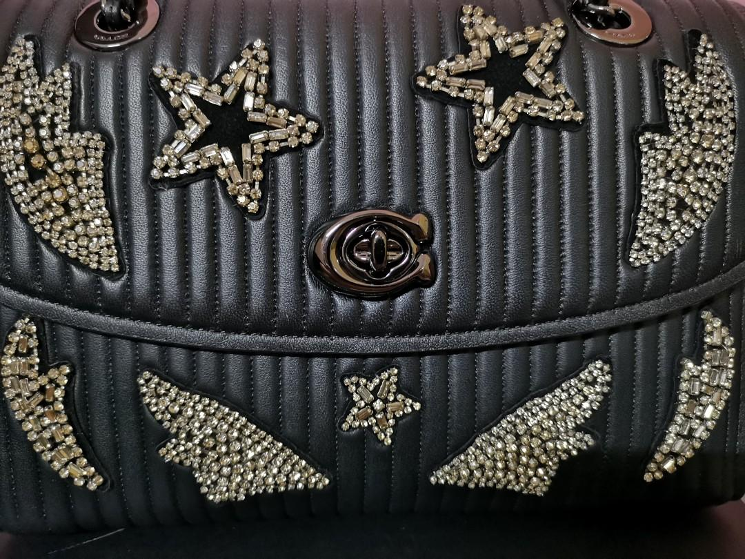Authentic Limited Edition Coach Parker Quilting & Crystal Embellishment Bag