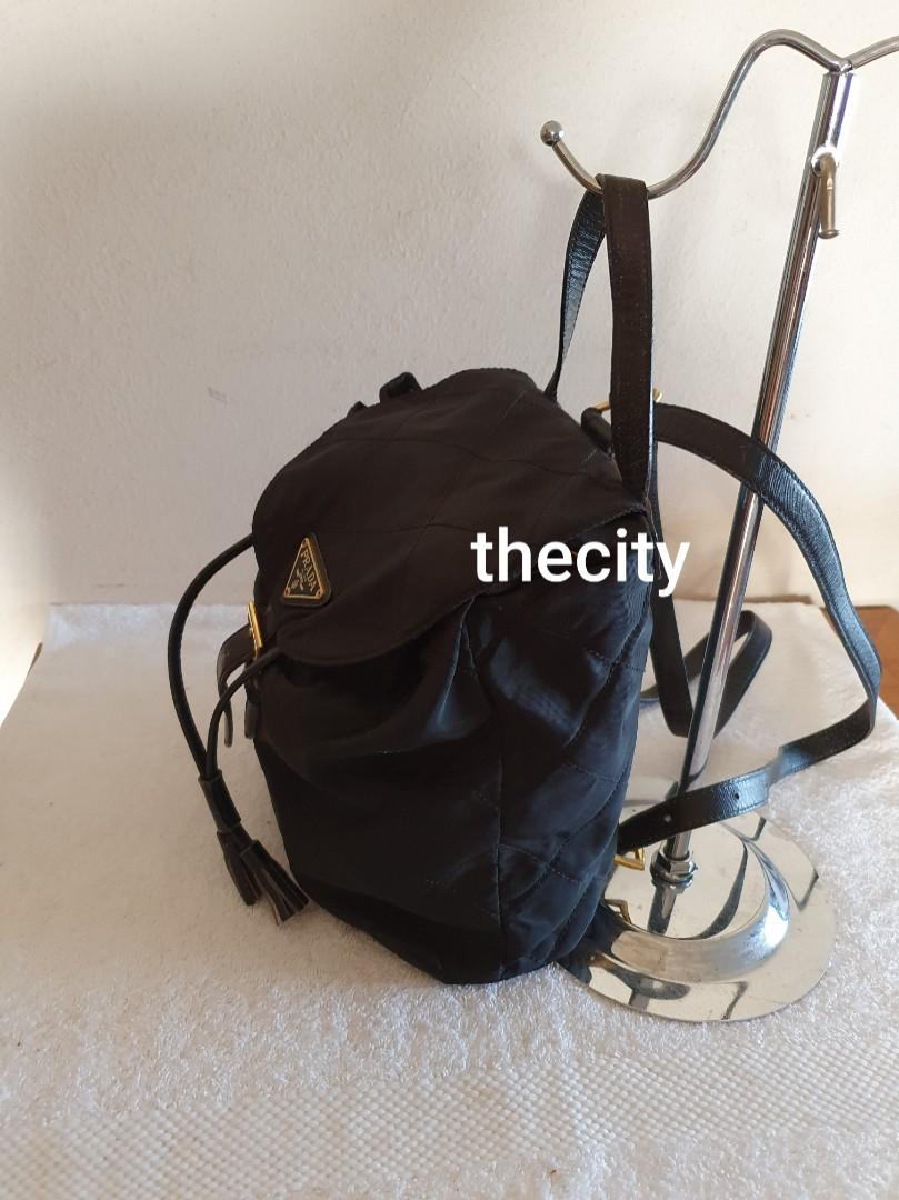 AUTHENTIC PRADA QUILTED BLACK NYLON CANVAS BACKPACK - TASSEL CHARM DRAWSTRING - CLEAN INTERIOR - CLASSIC TIMELESS VINTAGE