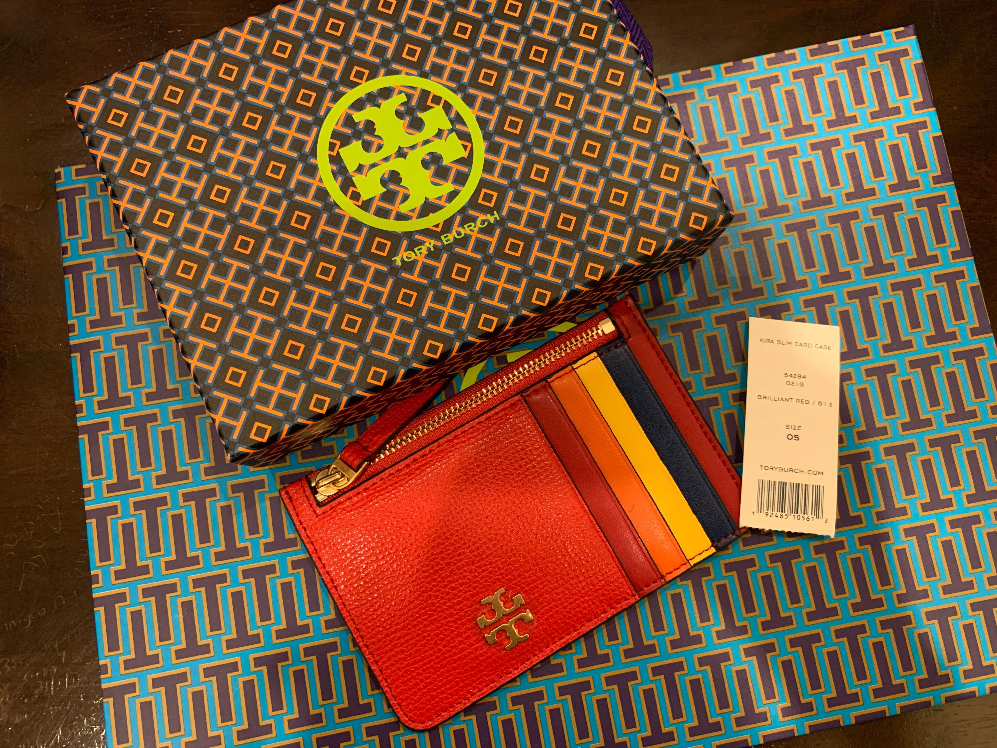 Authentic Tory Burch women card holder Kira skin card case bubble gum brilliant red