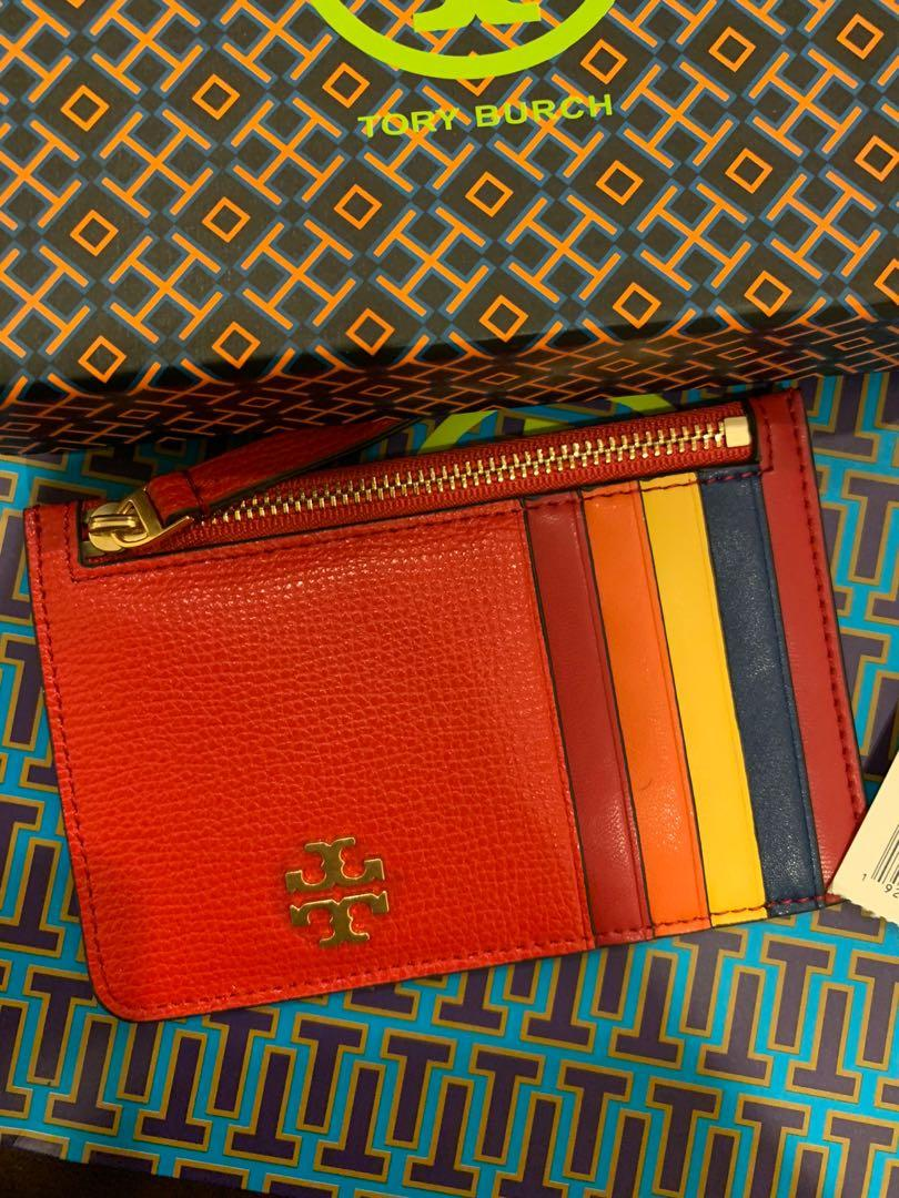 Authentic Tory Burch women card holder Kira skin card case bubble gum brilliant red