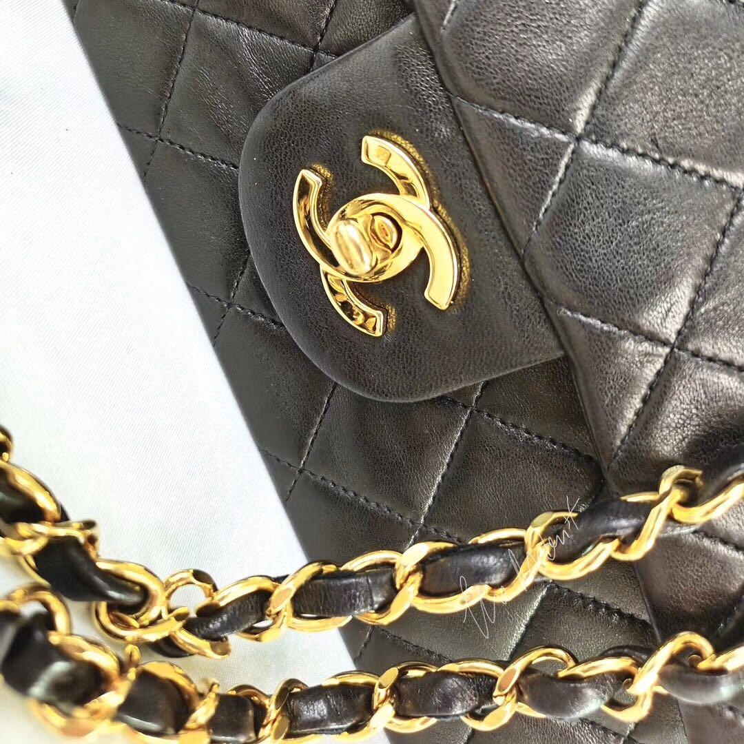 Authentic Vintage Chanel Medium Lambskin Double Flap 24k Gold Hardware