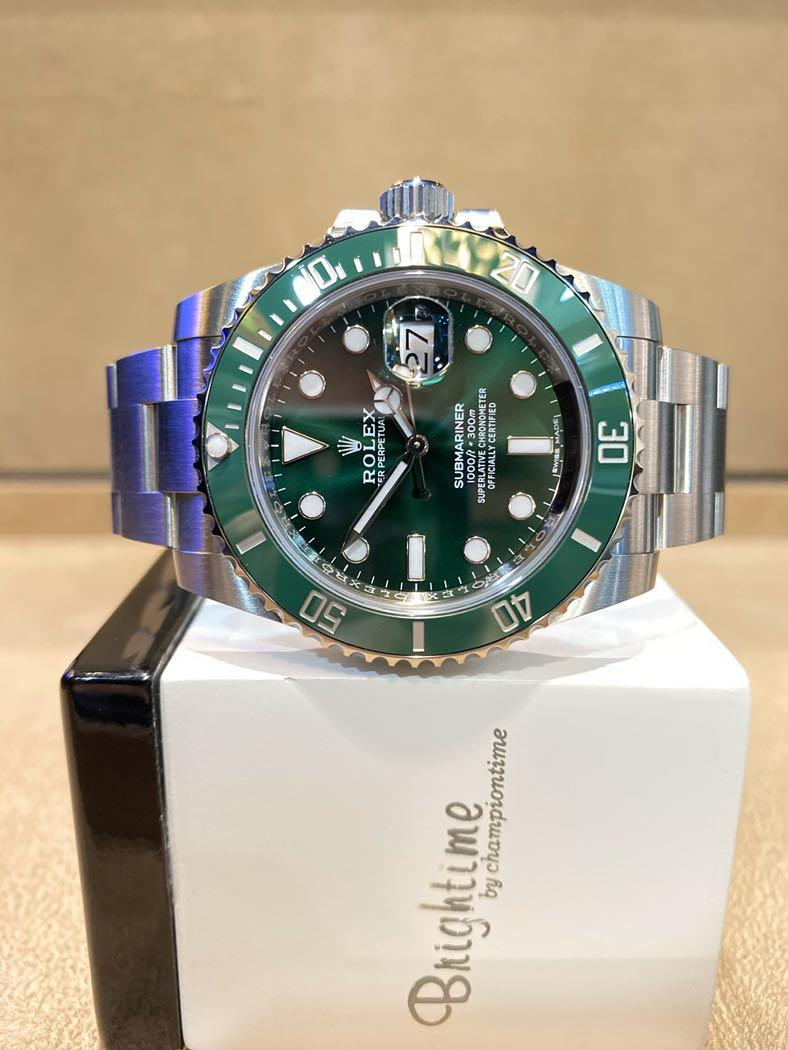 "Brand New Rolex Oyster Submariner 116610LV ""Hulk"" Green Dial Automatic Steel Casing Bracelet"