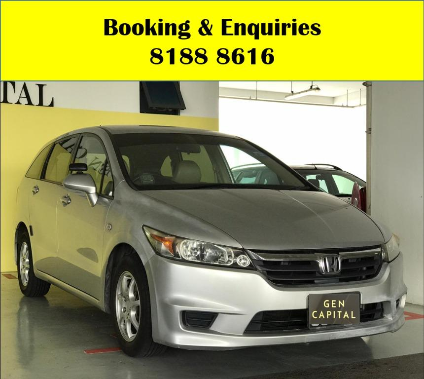 Honda Stream WIN WIN WEDNESDAY!! JUST IN!! Fuel efficeint, spacious & well maintained! FREE Petrol Voucher & FREE rental for new contract signup! Just $500 Deposit driveaway immediately! Whatsapp 8188 8616 now to enjoy special rates!!