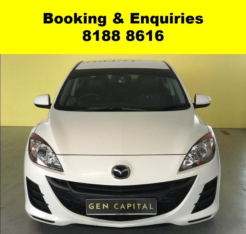 Mazda 3 WIN WIN WEDNESDAY!! JUST IN!! Fuel efficeint, spacious & well maintained! FREE Petrol Voucher & FREE rental for new contract signup! Just $500 Deposit driveaway immediately! Whatsapp 8188 8616 now to enjoy special rates!!