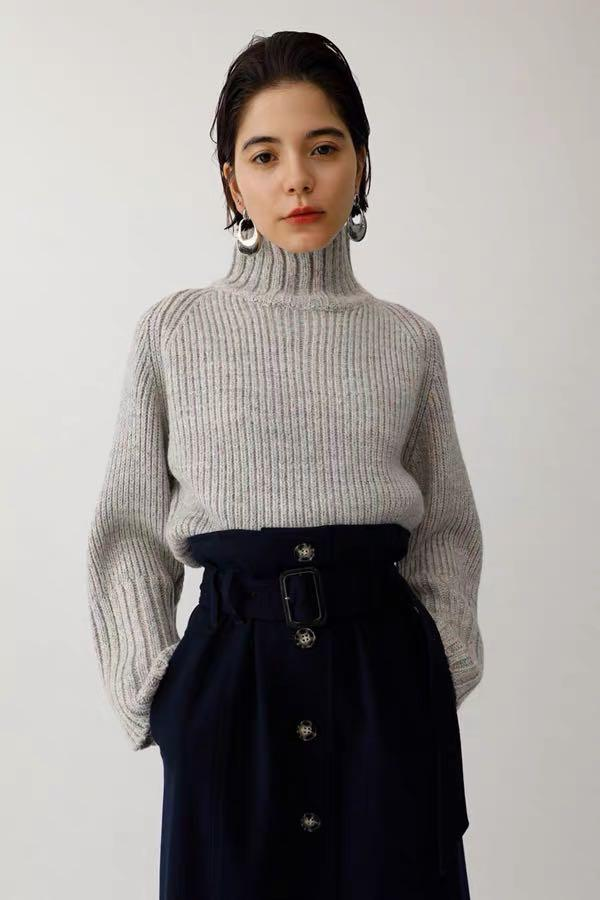 Moussy Japan Fashion Designer high neck wool blended sweater cardigan