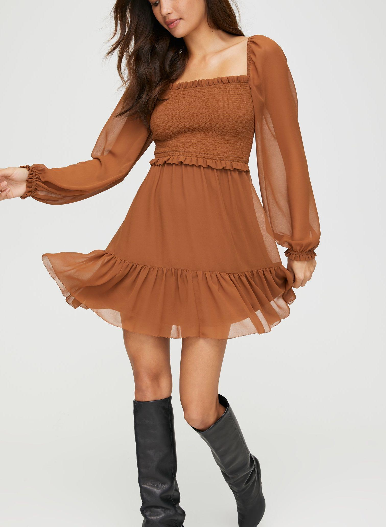 NWT Aritzia Wilfred Tempest Dress in Terrazzo Brown Size Small