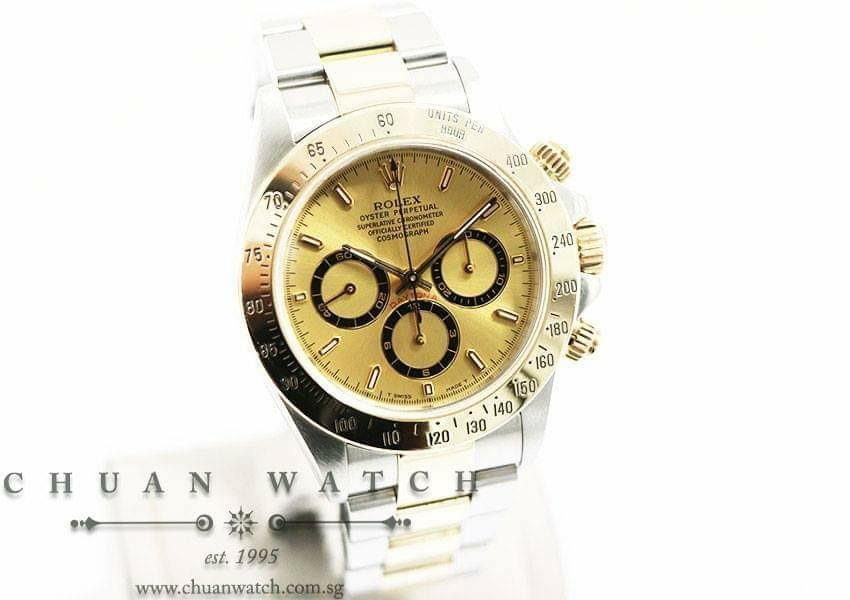 *ON HOLD Pre-Owned Rolex Cosmograph 'Zenith' Daytona Two-Tone 16523 Champagne Sunburst Index - Discontinued