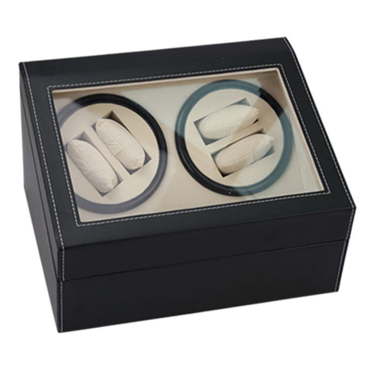 *PROMO* BNIB Automatic classic watch Black Watch Winder Wood Box (PU Black/ White) for 4 watches winding with 6 watches slot