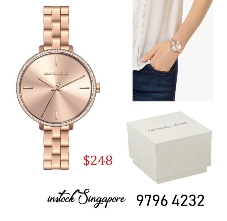 READY STOCK authentic new Michael Kors Women's Rose Gold-Tone Stainless Steel Bracelet Watch 39mm