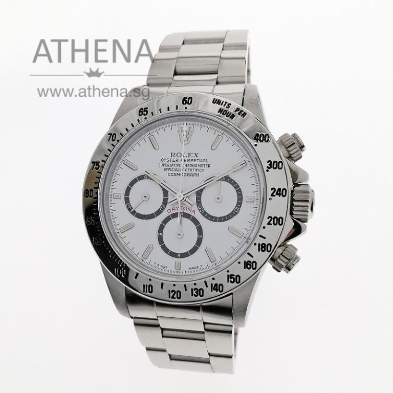"ROLEX SPORT RARE & DIFFICULT TO ACQUIRE !!! HIGHTLY COLLECTIBLE ROLEX COSMOGRAPH DAYTONA ""N"" SERIES ""WHITE DIAL"" ZENITH MOVEMENT WITH ROLEX SERVICE CERT & STILL UNDER ROLEX SERVICE WARRANTY 16520 (INVENTED 6 DIAL) JGWRL_1084"