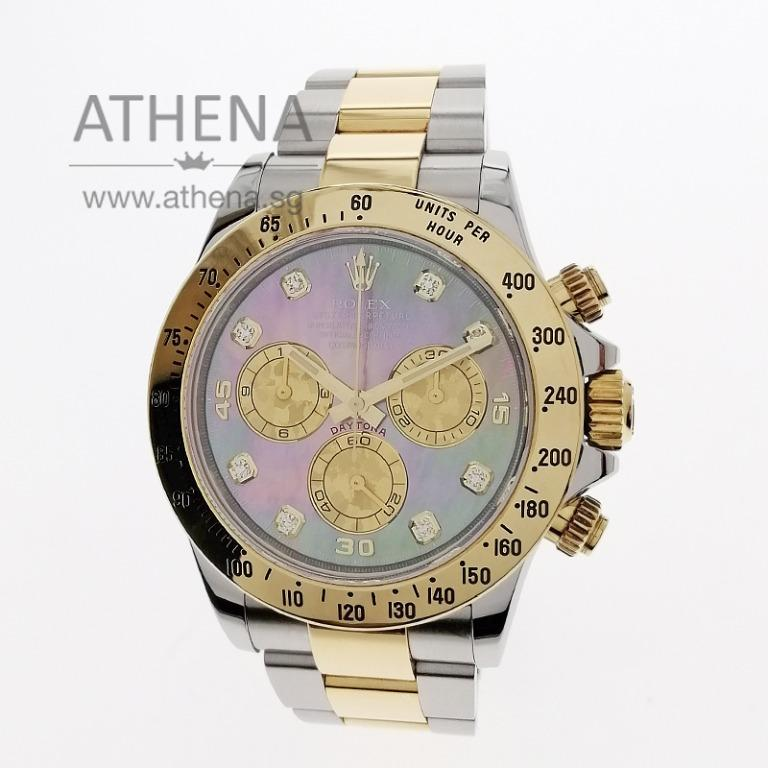 "ROLEX SPORT ROLEX HALF GOLD COSMOGRAPH DAYTONA ""AN"" SERIES ""DARK MOP DIAMOND DIAL"" WITH BOX & CERT 116523 JGWRL_1123"