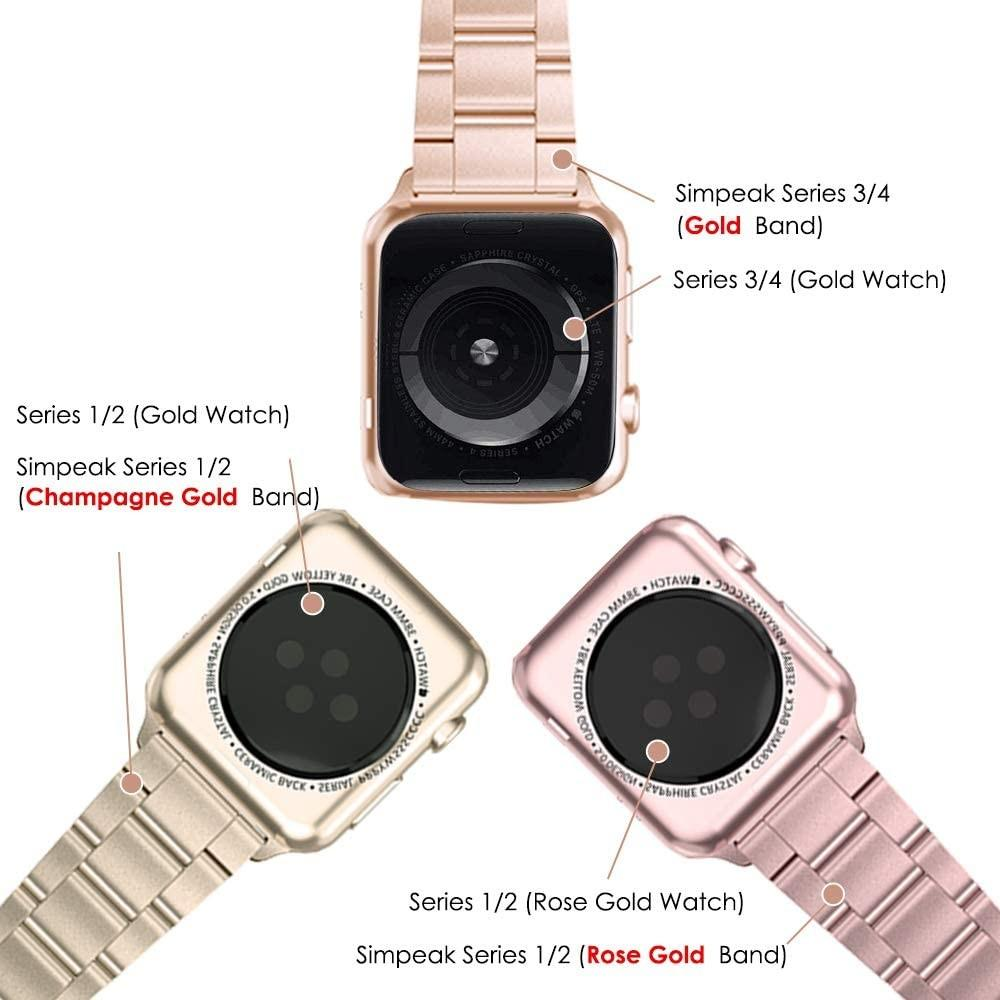 Simpeak Stainless Steel Band Strap Compatible with Apple Watch 42mm (44mm) Series 1 Series 2 Series 3 Series 4, Gold