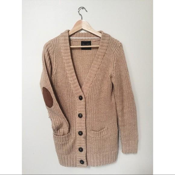Zara Tan Faux Suede Brown Elbow Patches Cardigan (Small)